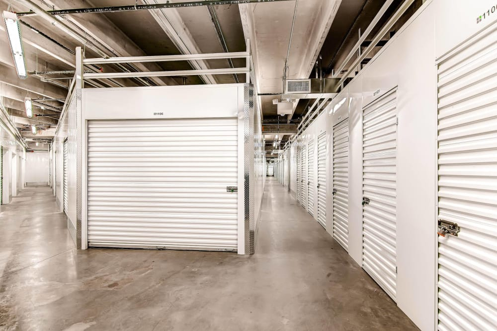 Hallway of units at Greenbox Self Storage in Denver, Colorado