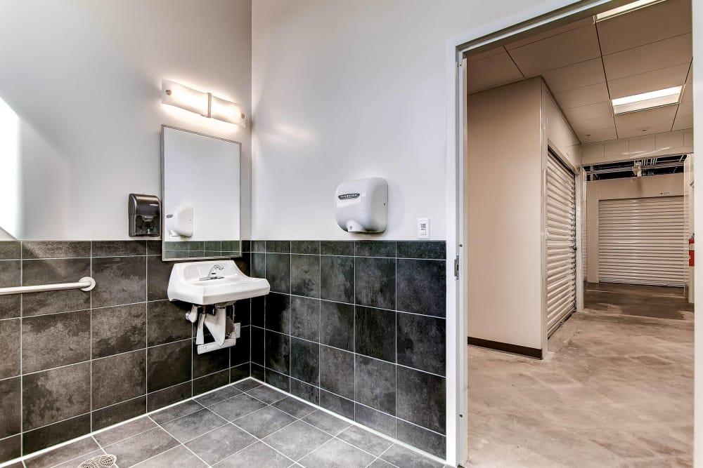 Bathroom at Greenbox Self Storage in Denver, Colorado