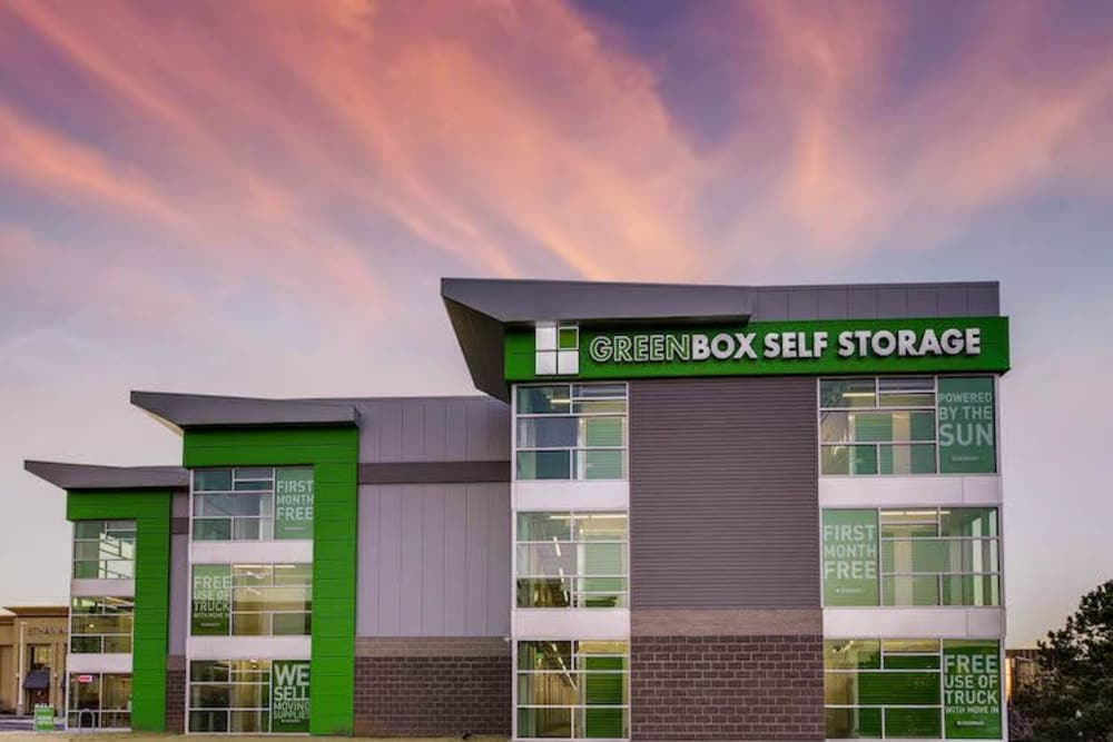 Front view of exterior at Greenbox Self Storage in Centennial, Colorado