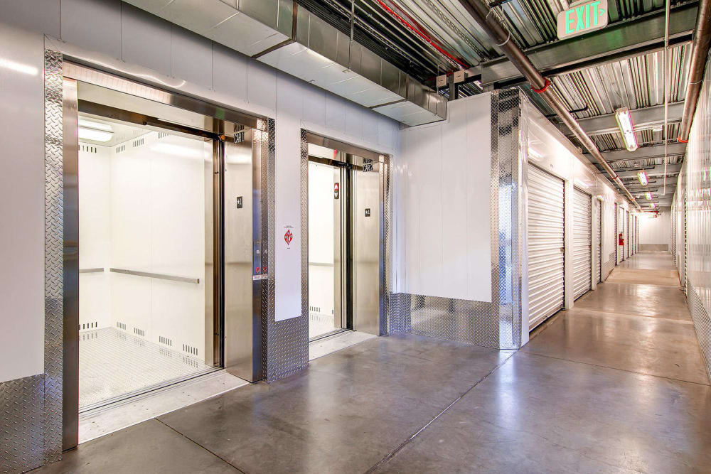 Elevator access available at Greenbox Self Storage in Denver, Colorado
