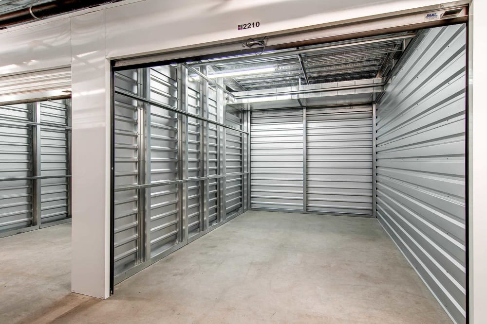 Interior of a storage unit at Greenbox Self Storage in Denver, Colorado