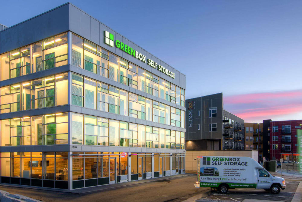 Exterior view of Greenbox Self Storage in Denver, Colorado