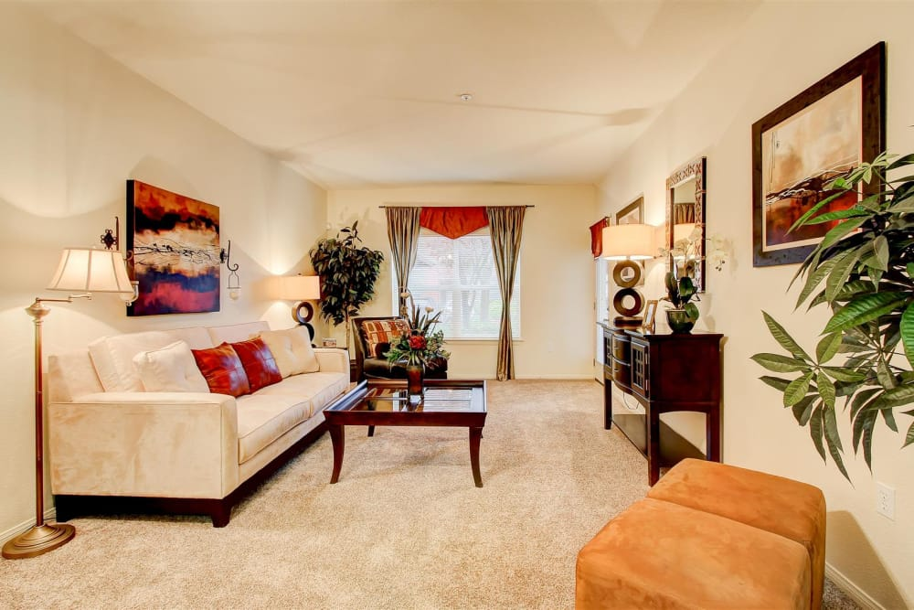 Well-decorated living room in model home at Brooks Landing in Modesto, CA