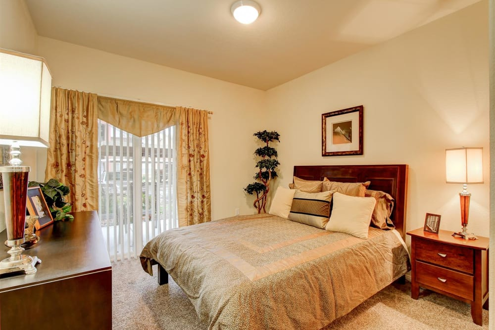 Bedroom in model home at Brooks Landing in Modesto, CA