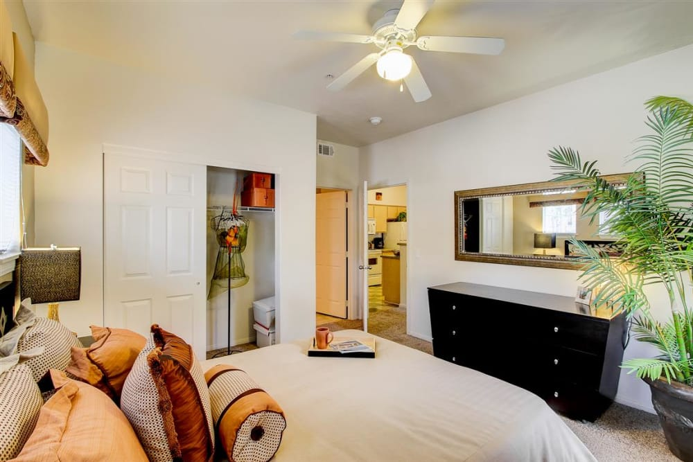 Bedroom with ceiling fan at Sterling Pointe in Flagstaff, AZ