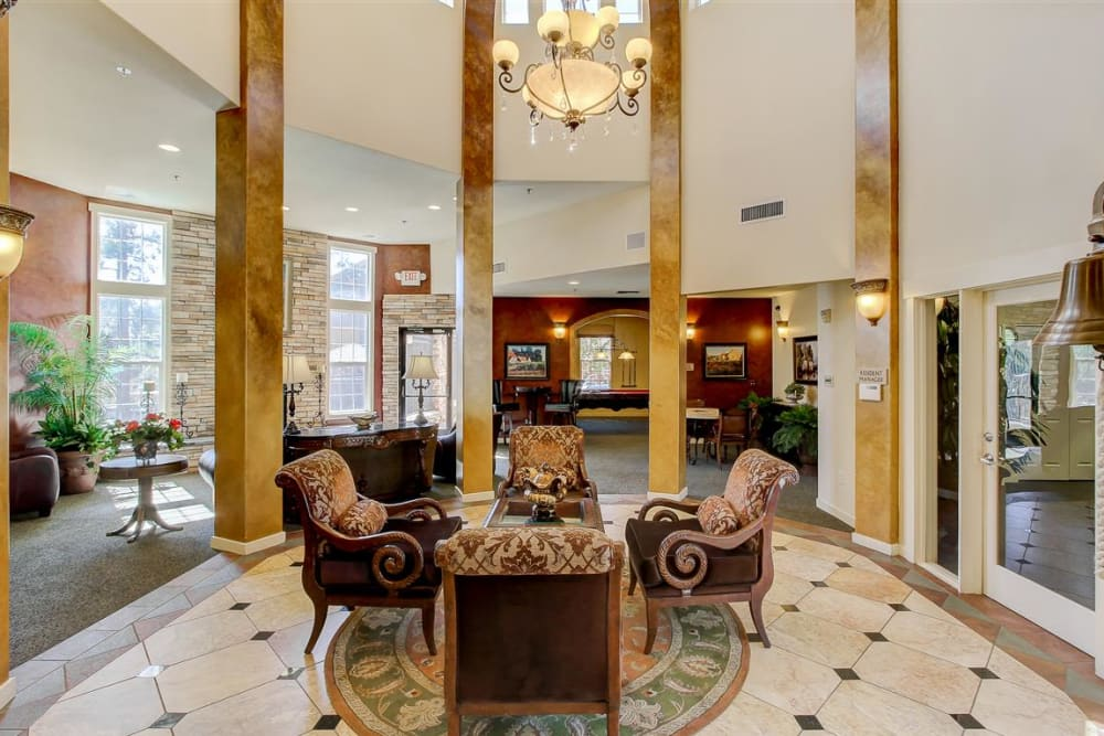 Interior view of the lavish leasing office and community clubhouse at Sterling Pointe in Flagstaff, AZ