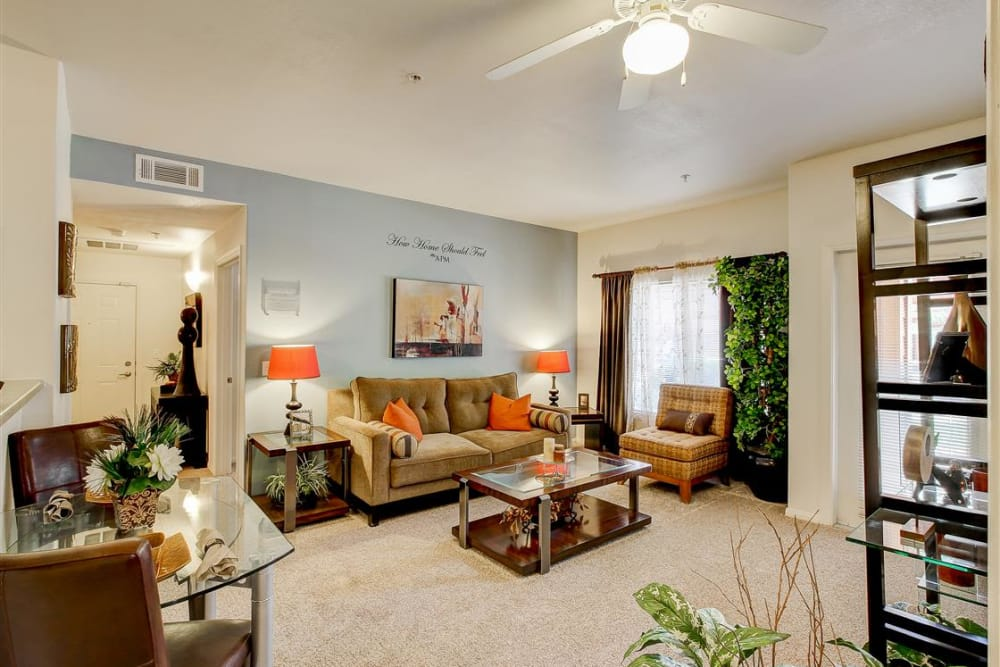Well-decorated living room in model home at Sterling Pointe in Flagstaff, AZ