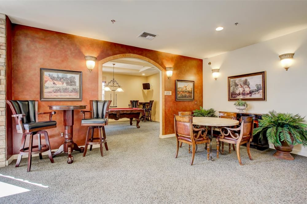 Resident game room in the clubhouse at Sterling Pointe in Flagstaff, AZ