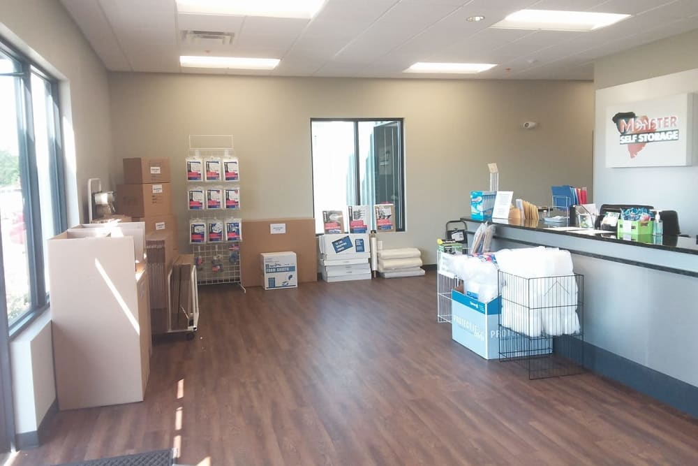 Packing supplies available onsite at Monster Self Storage in Greenwood, South Carolina