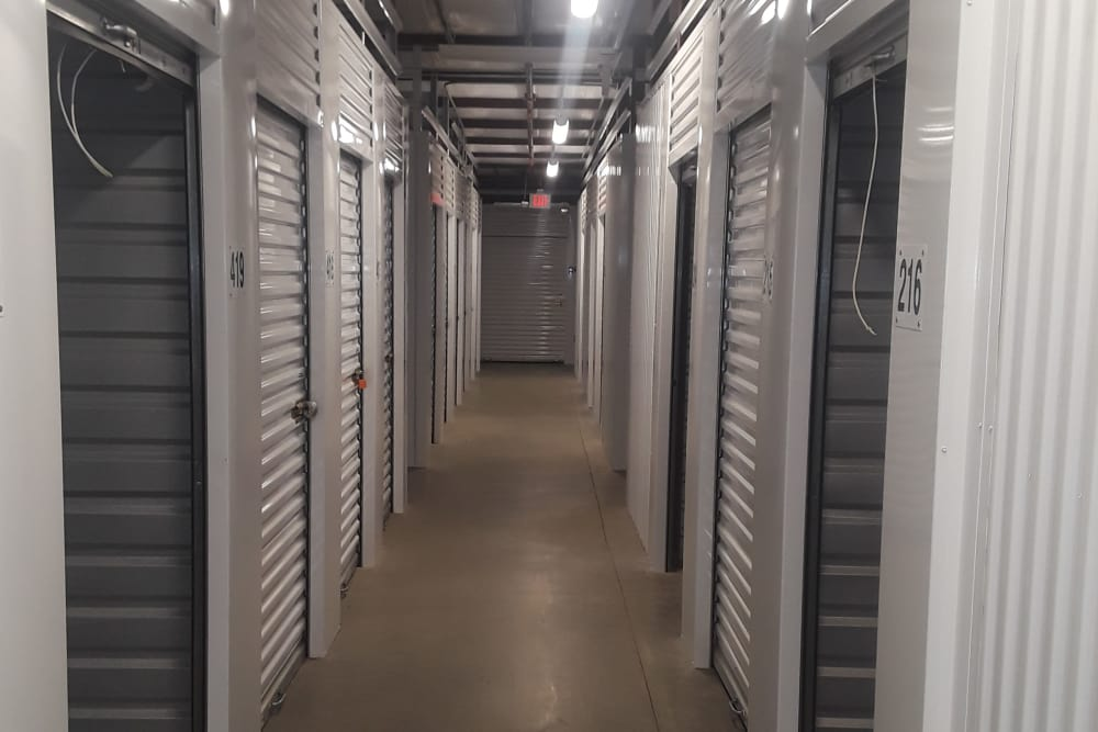 Hallway of storage units at Monster Self Storage in Greenwood, South Carolina