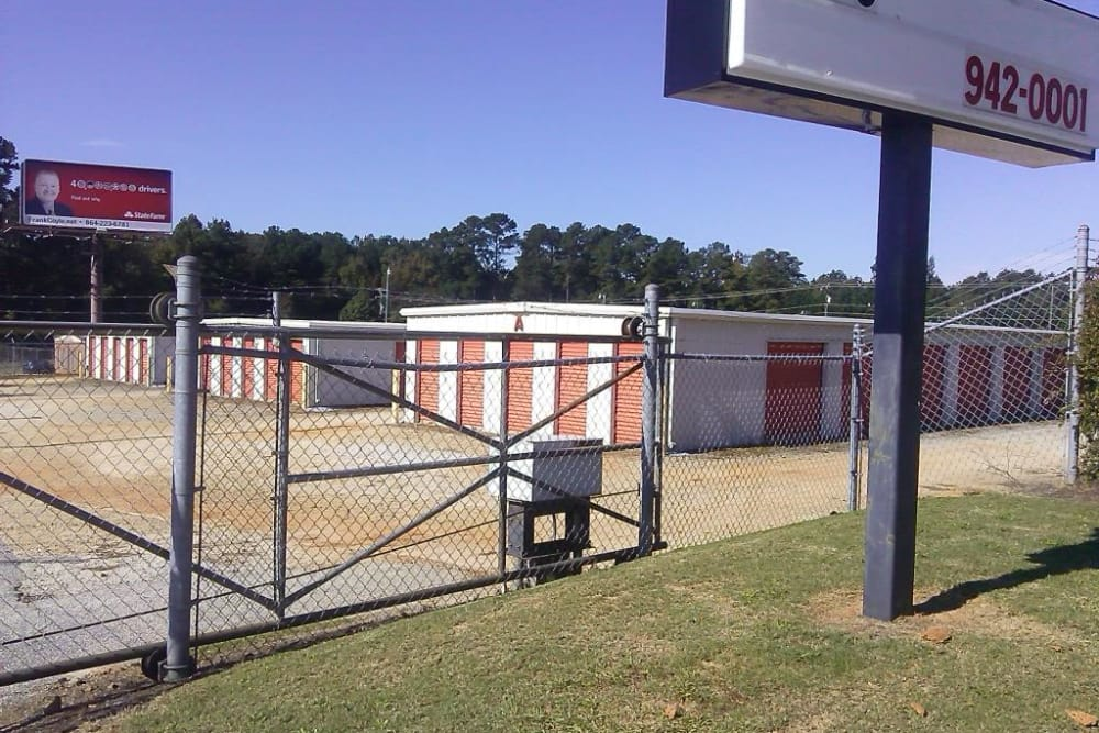 Access gate at Monster Self Storage in Greenwood, South Carolina