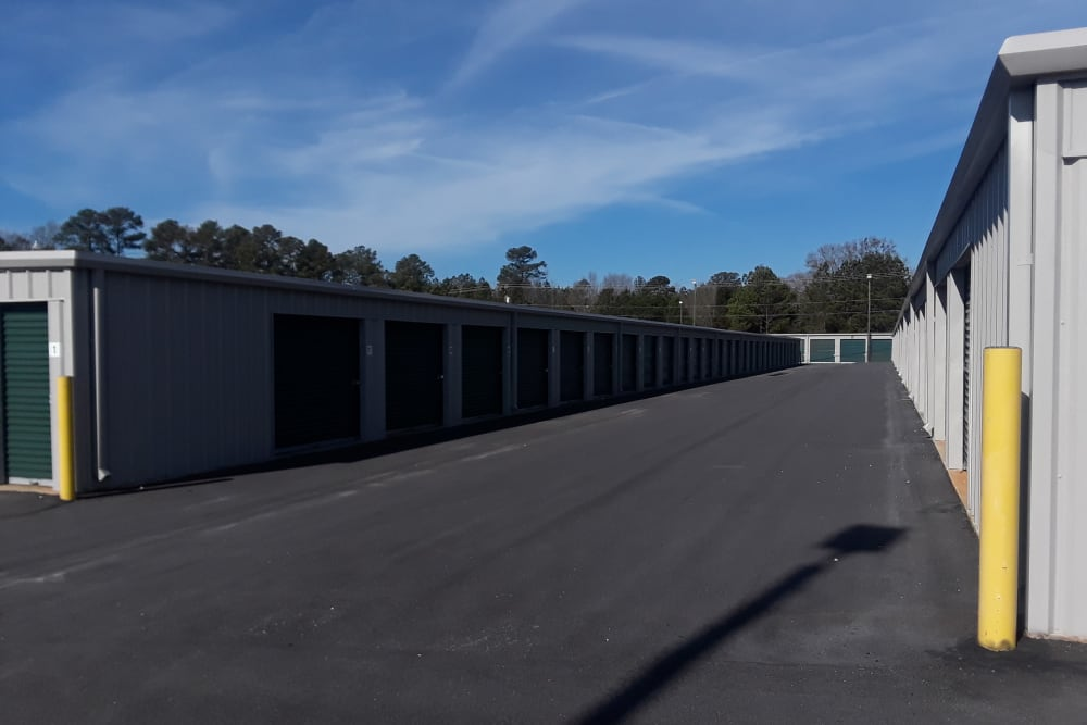 Row of storage units at Monster Self Storage in Greenwood, South Carolina