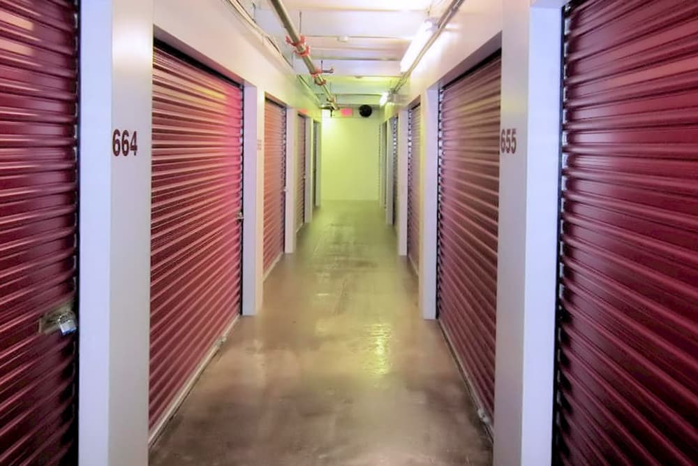 Hallway of units at A Space Place Self Storage in Medford, New York