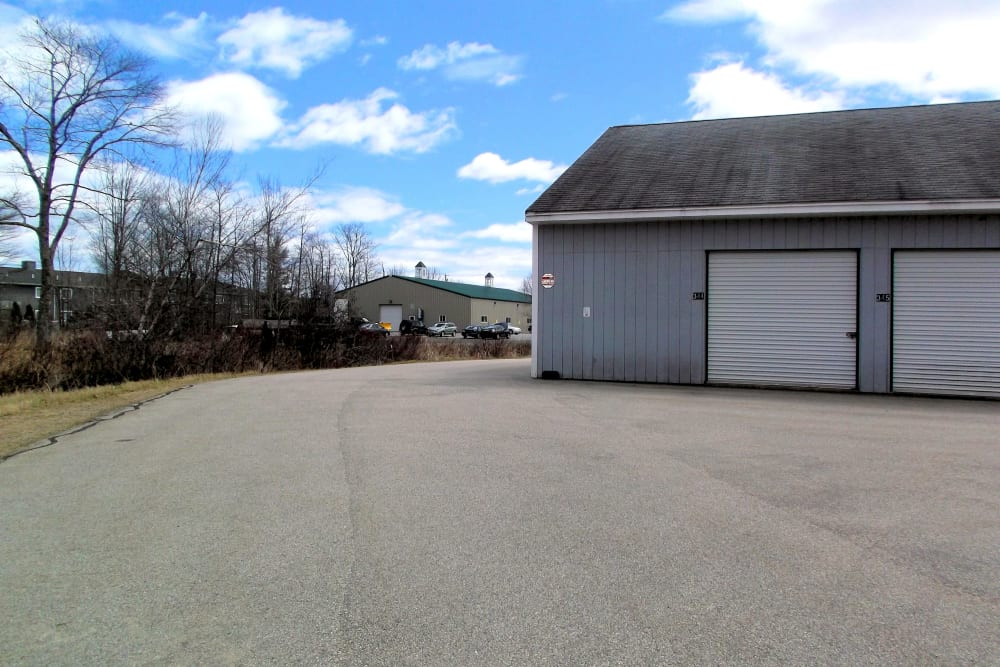 Wide driveways at Prime Storage in York, Maine