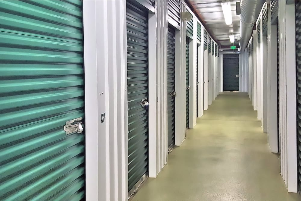 Hallway of units at Forest Hill Mini-Storage in Forest Hill, Maryland
