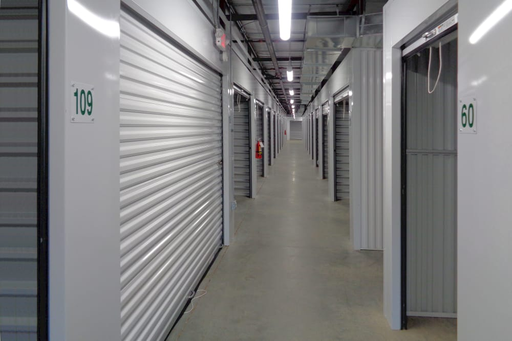 Hallway of units at Monster Self Storage in Simpsonville, South Carolina