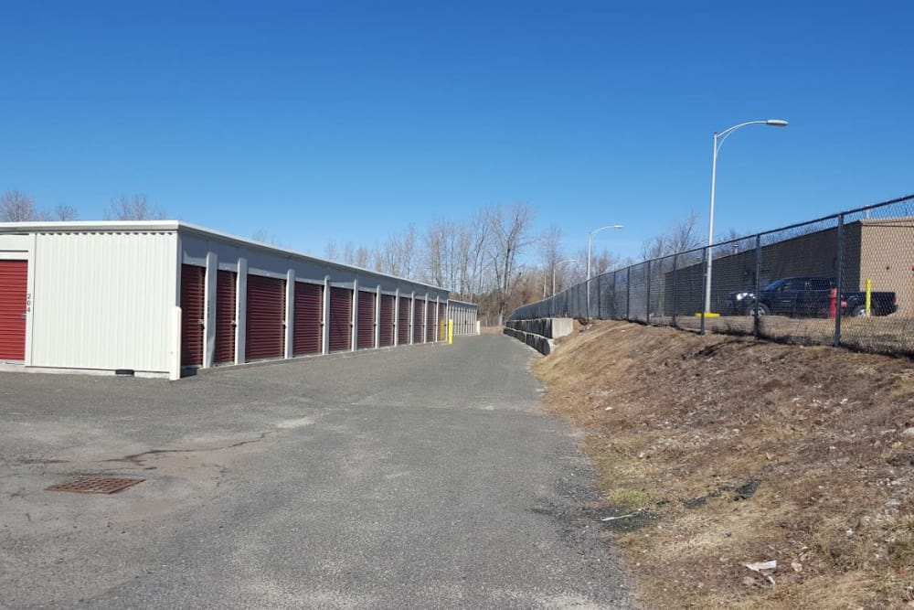 Outdoor storage units at Prime Storage in Pittsfield, Massachusetts