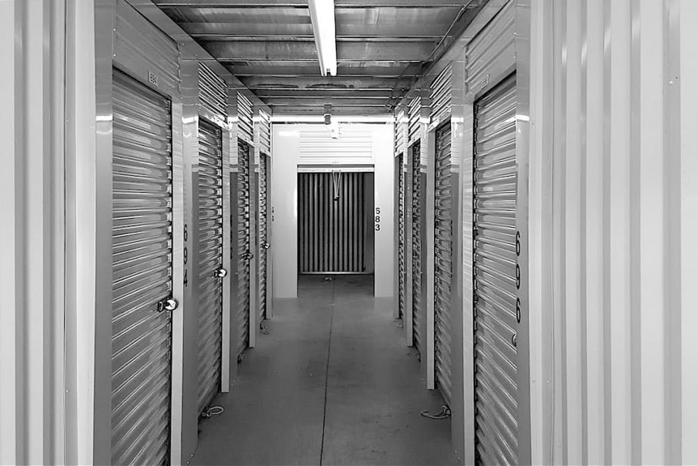 Hallways of units at Prime Storage in Pittsfield, Massachusetts