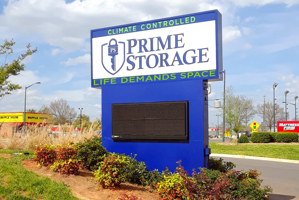 Monument sign at Prime Storage in Rock Hill, South Carolina