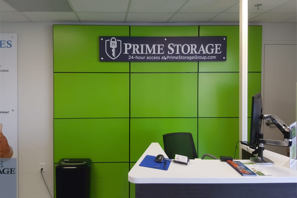 Office desk at Prime Storage leasing office in Rock Hill, South Carolina