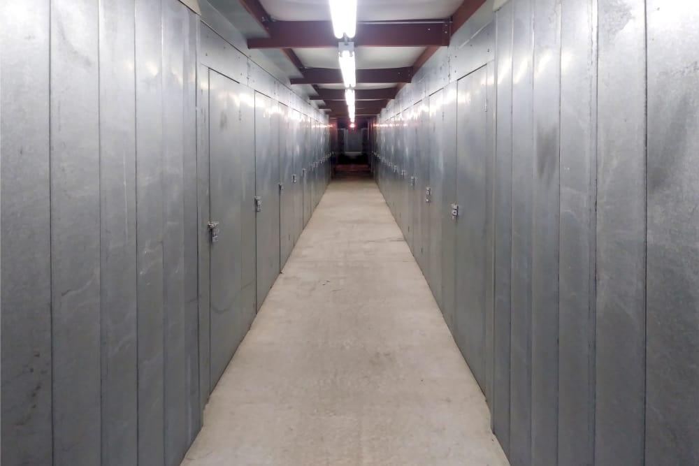 Hallway of units at Prime Storage in Lansing, Michigan