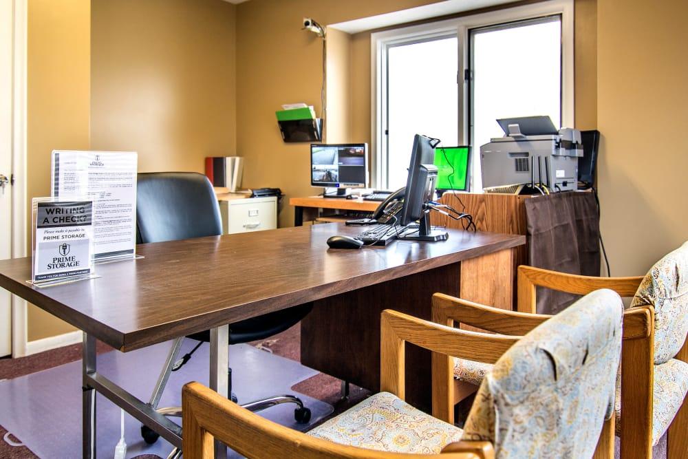 Office desk at Prime Storage leasing office in Lansing, Michigan
