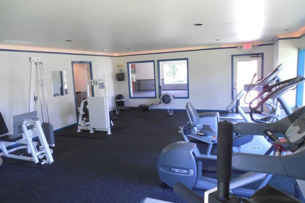 Apartments with a modern fitness center at Conifer Place Apartments in Corvallis, Oregon