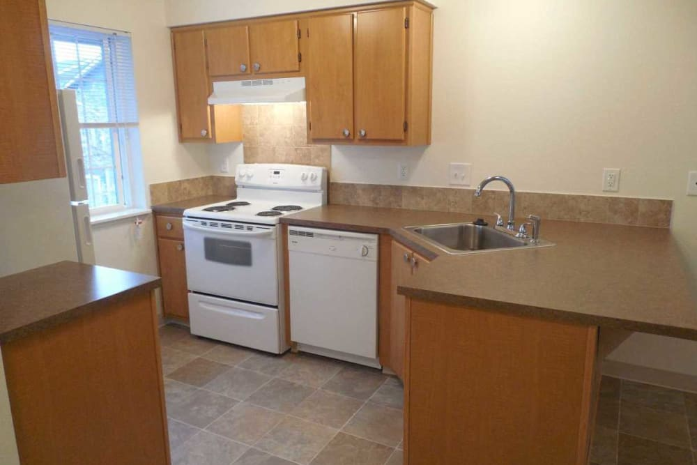 Cozy kitchen at Conifer Place Apartments in Corvallis, Oregon