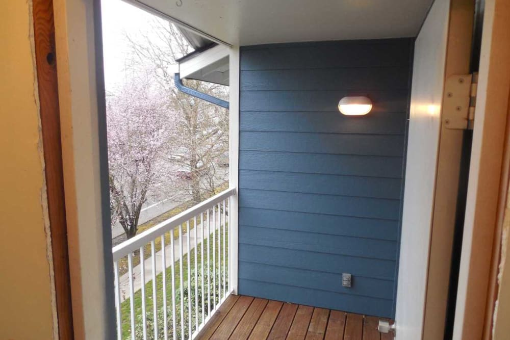 Conifer Place Apartments offers a private balcony in Corvallis, Oregon
