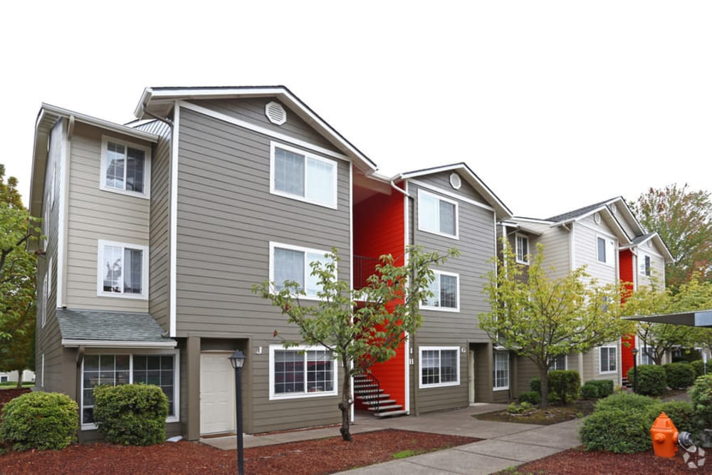 Exterior of apartments at Conifer Place Apartments in Corvallis, Oregon