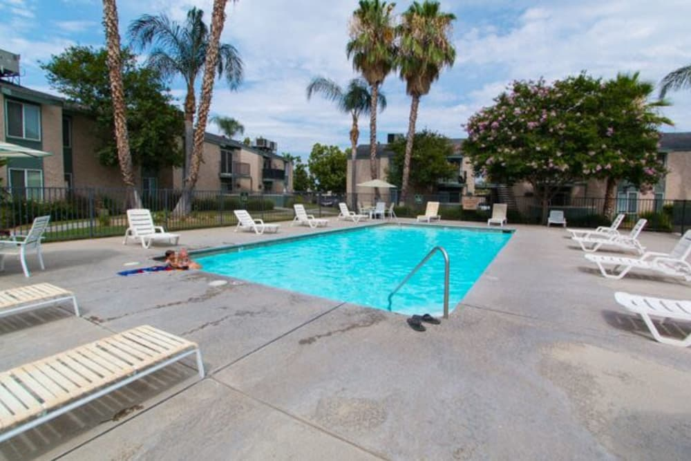 Beautiful swimming pool at apartments in Fresno, California