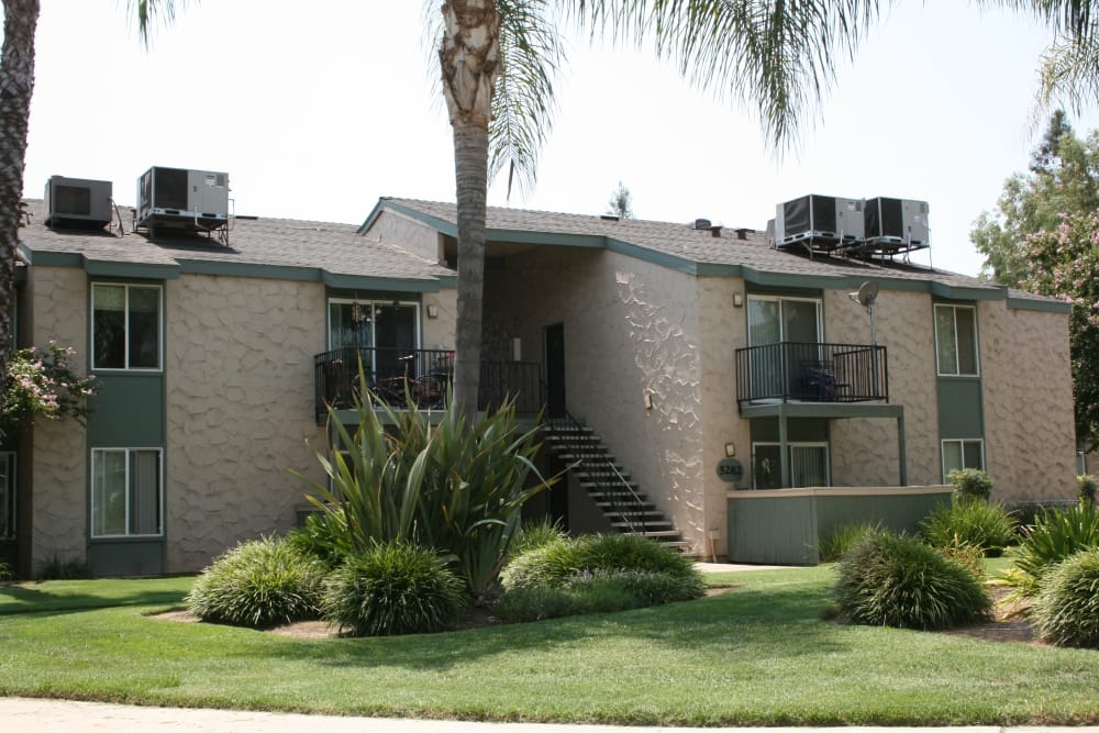 Front view of apartments at San Tropez Apartments in Fresno, California
