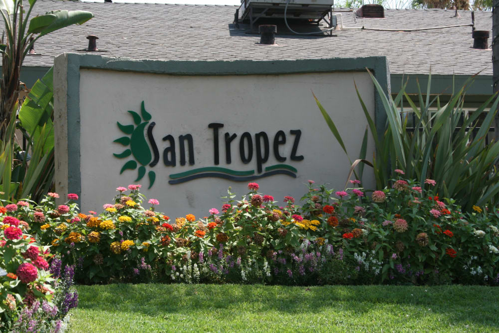 Front sign at San Tropez Apartments in Fresno, California