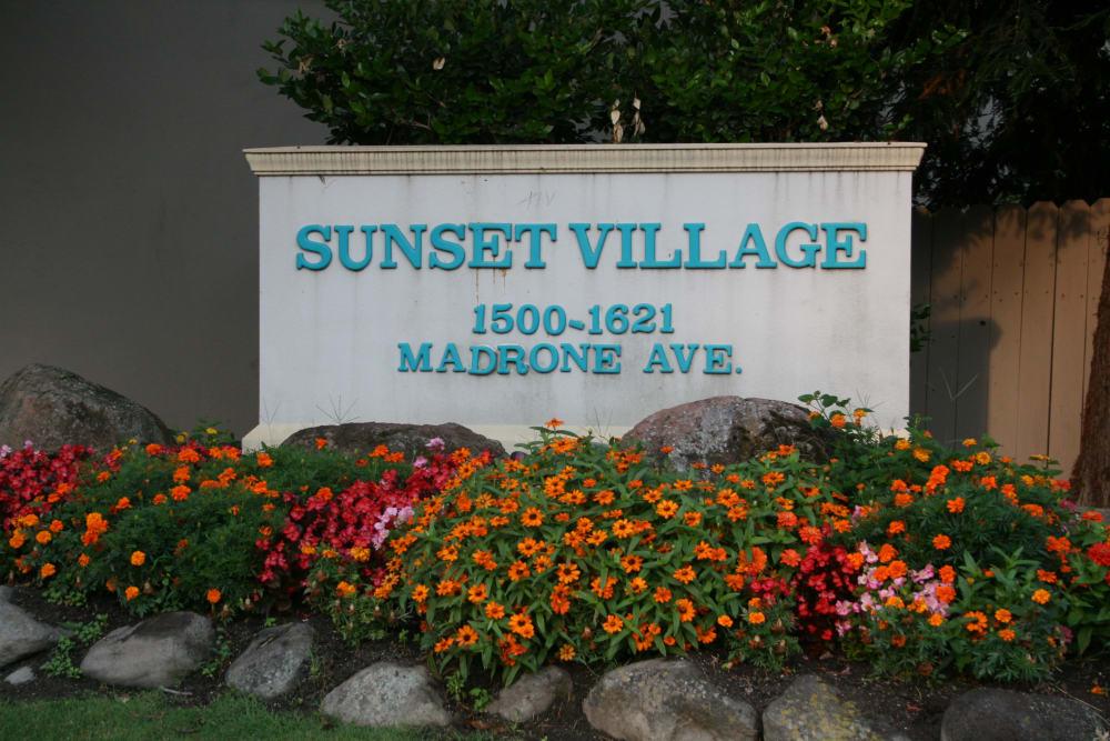 Entrance sign at Sunset Village in West Sacramento, California