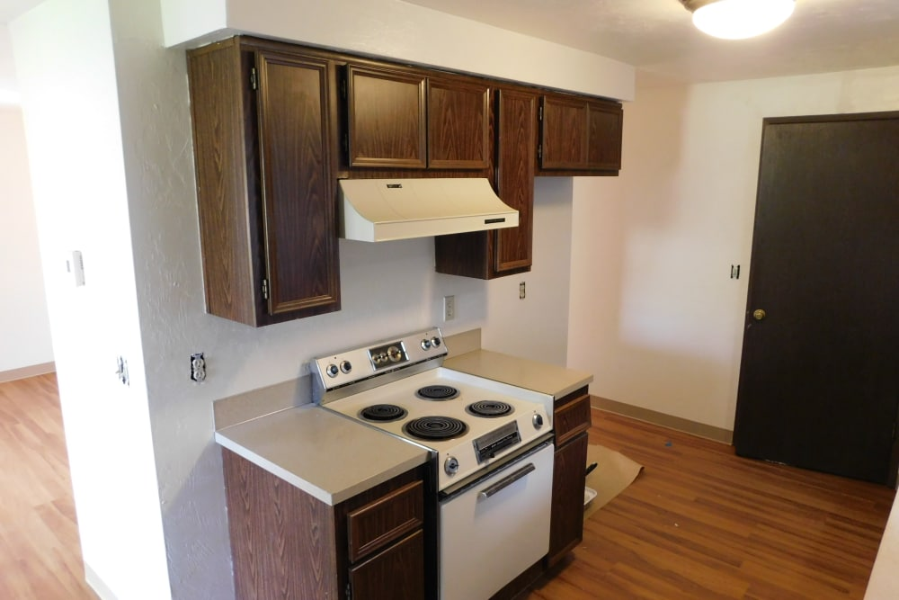 Kitchen at apartments in Eugene, Oregon