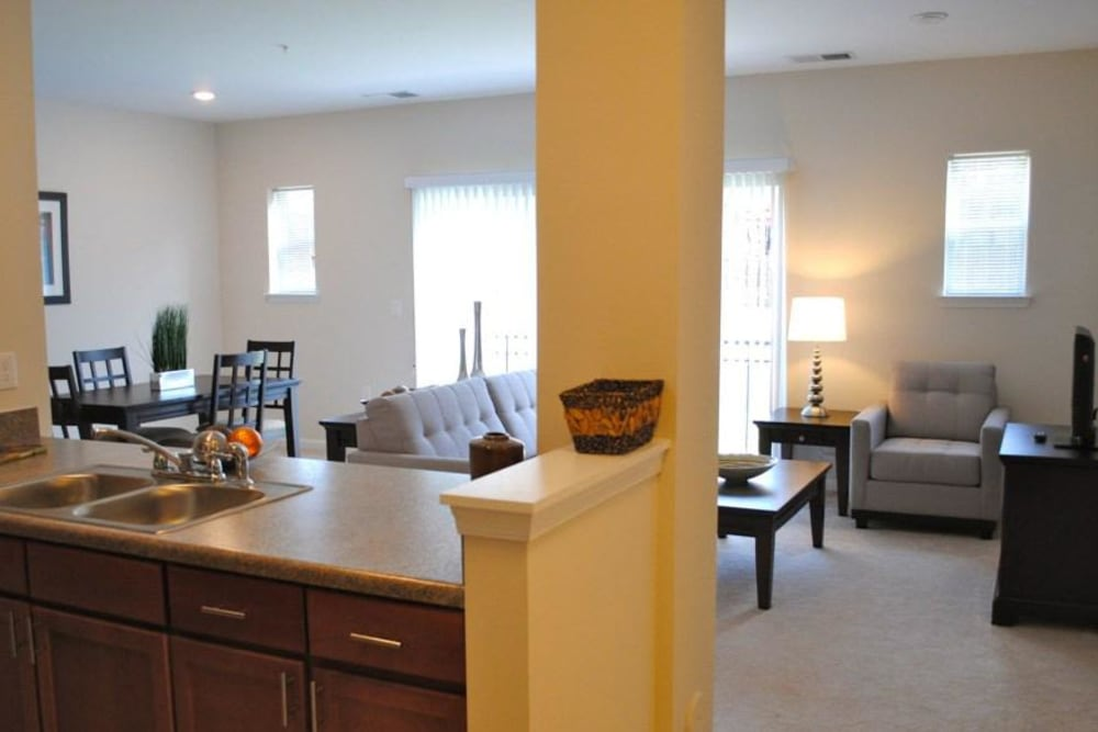 Living room and dining room at Orchard Meadows Apartment Homes in Ellicott City, Maryland
