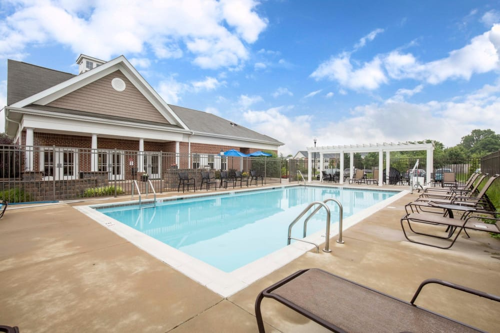 Spacious swimming pool at Orchard Meadows Apartment Homes in Ellicott City, Maryland