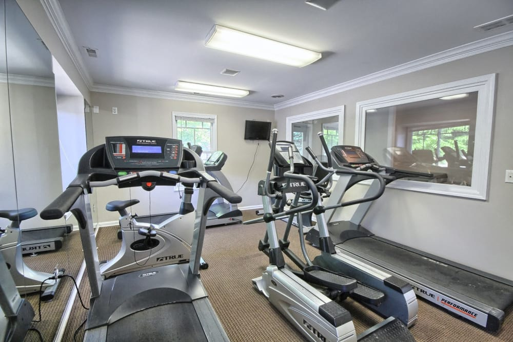 A view of the fitness center at Legends Fox Creek in Clarkston, MI