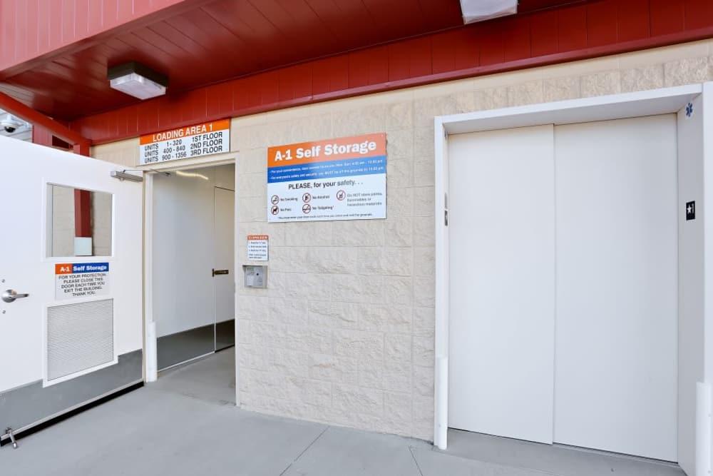elevator at A-1 Self Storage in San Diego, California
