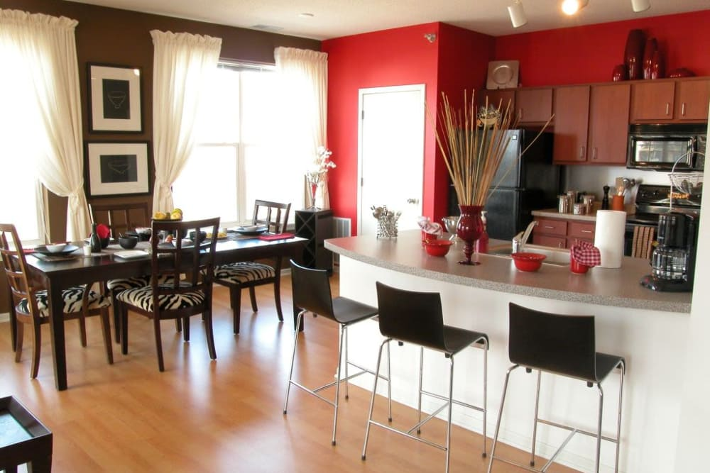 Beautiful kitchen and dining room at Loring Park Apartments in Minneapolis