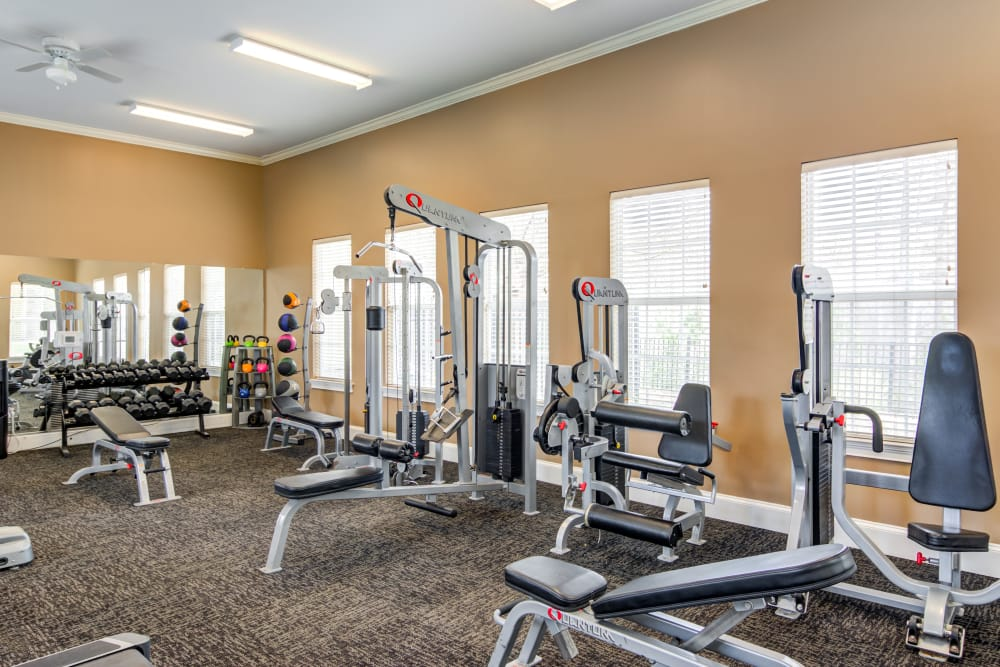 Bright fitness center at The Maddox in Duluth, GA