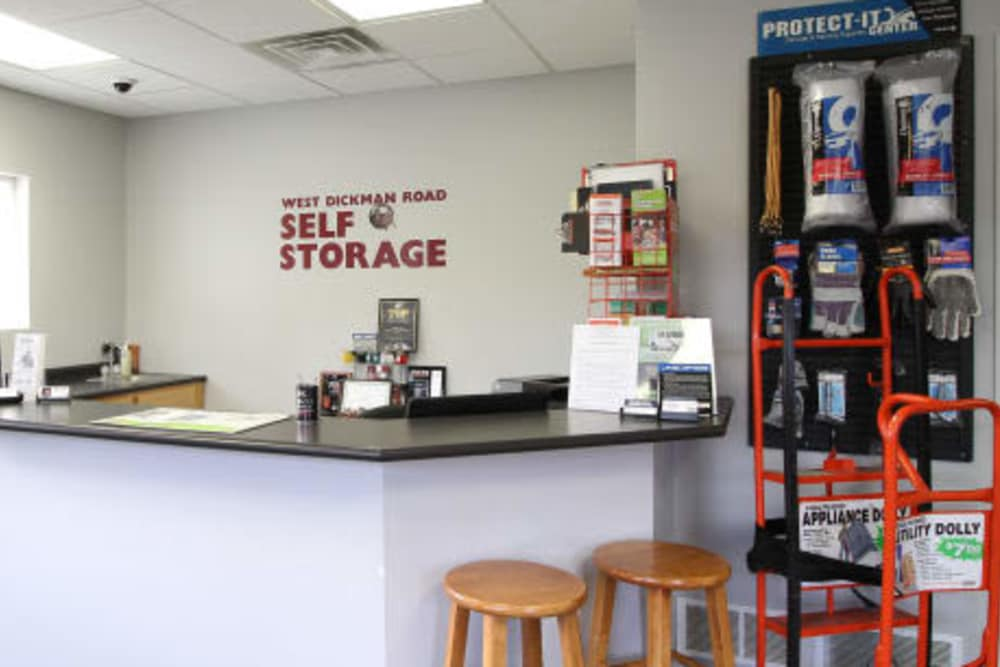 The office at West Dickman Road Self Storage