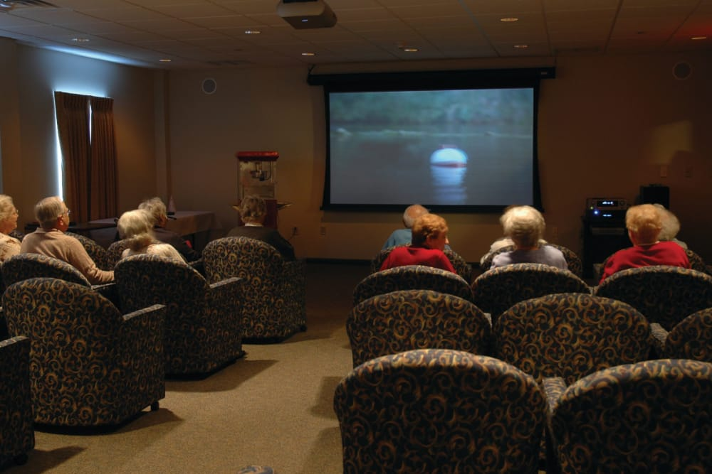 Movie theatre at senior apartments in Harleysville, Pennsylvania