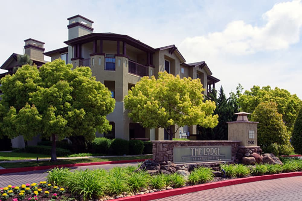 The entry to our community at The Lodge at Napa Junction in American Canyon, California