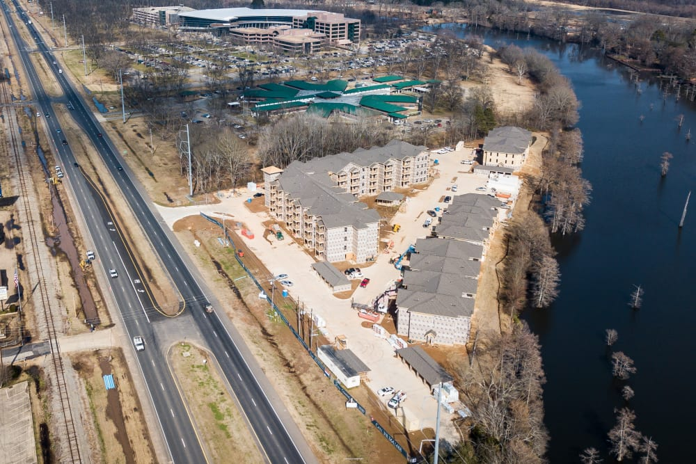 Aerial view of our neighborhood at The Reserve on Bayou DeSiard in Monroe, Louisiana