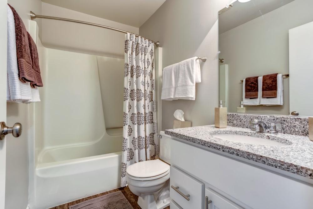 Cozy bathroom at Aspen Place in Aurora, Illinois