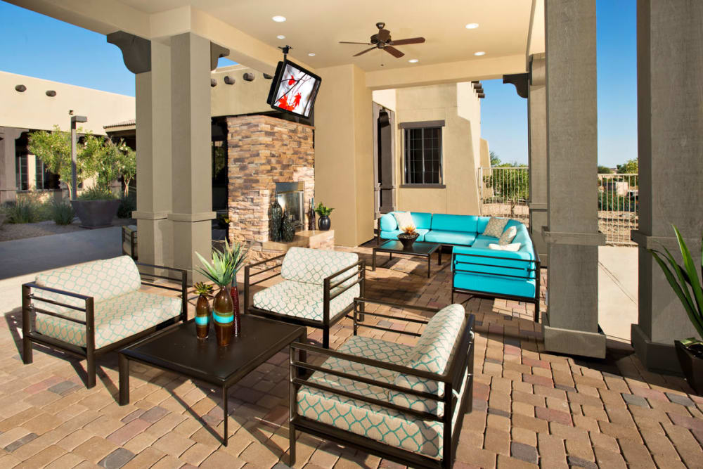 Patio area at the clubhouse at Las Colinas at Black Canyon in Phoenix, Arizona