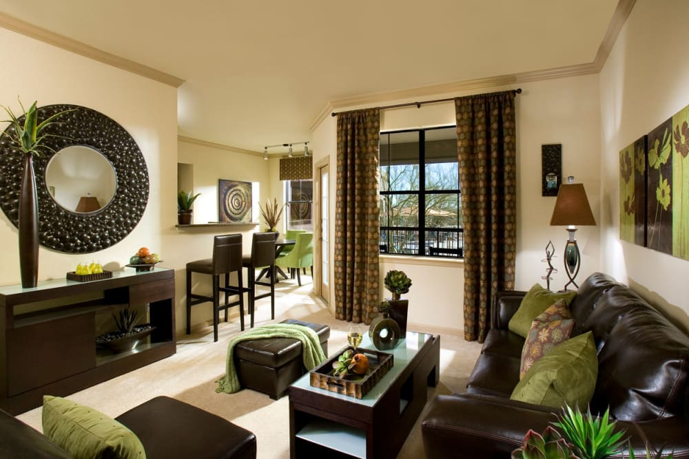 Las Colinas at Black Canyon offers a naturally well-lit living room in Phoenix, Arizona