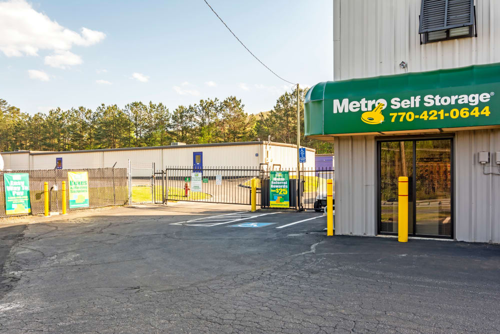 Front entrance at Metro Self Storage in Marietta, GA
