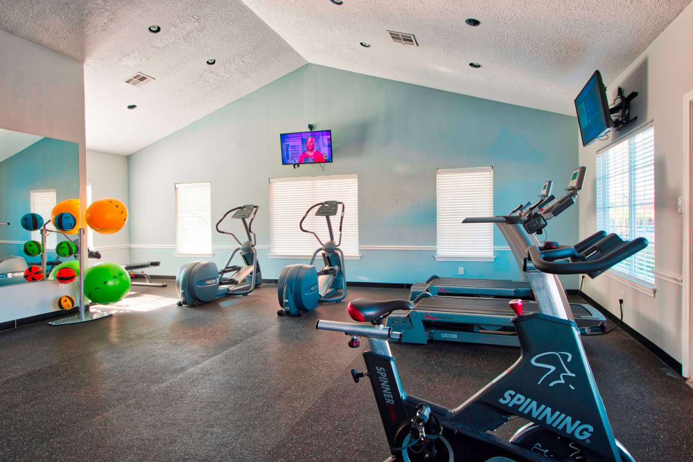 Modern fitness center at Parcside in College Station, Texas